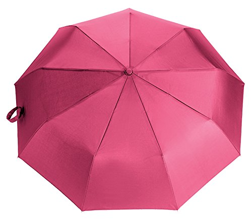 "Lightweight ""Dupont Teflon"" Travel Umbrella, Virtually Indestructible Windproof Canopy, **Lifetime Replacement Guarantee**, Automatic Open/Close For One Handed Operation, Slip-Proof Handle for Easy Carrying By Repel (Pink)"