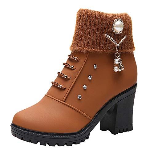 WWricotta Damen Stiefeletten Chelsea Boots mit Blockabsatz Profilsohle Kurzschaft Stiefel Freizeitschuhe Crystal High Heel Martin Stiefel Ankle Boots
