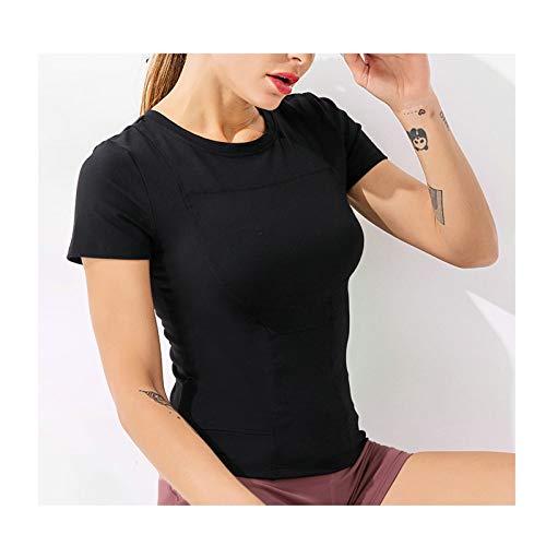 Epinki Damen Kurzarm Sport Oberteil Nylon Laufshirt Schnell Trocknend Oberteil Tops Atmungsaktiv Sweatshirts Für Gym Yoga Laufen Fitness - Schwarz