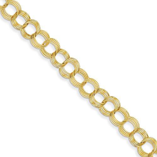 Or 14carats massif triple Lien Charme Bracelet-Fermoir-Longueur Options: 18-20
