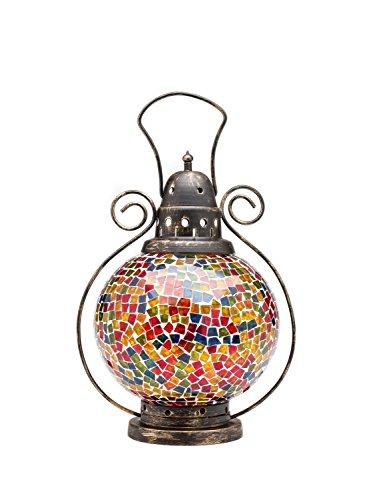 aubaho Windlicht Laterne Lampe Teelicht Lampion Garten Terasse Haus Glas Buntglas 31cm