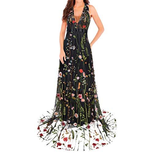 MAYOGO Festliche Kleider Damen Kleider Elegant Lang Cocktailkleid Blumen Gestickt Layered Tüllkleid Partykleid Formelles Kleid zur Hochzeit Gast Maxikleider V-Ausschnitt Rückenfrei Ärmelloses -