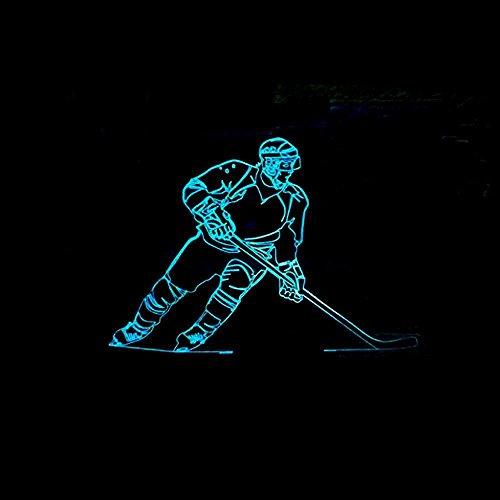 HMer 3D Optical Illusion LED Nachtlicht Eishockey bunten 3D-Beleuchtung LED-Gradienten Nachtlicht Touch-Schalter visuellen stereoskopischen 3D-LichterWeihnachts geschenk
