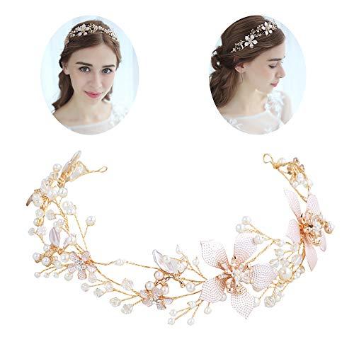 roroz Braut Hochzeit Stirnband Tiara Retro Temperament, Hochzeitskleid Kopfschmuck Gepunktete Blütenblätter, Brautjungfer Prinzessin Parteien 2019, Gold