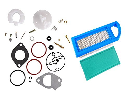 OuyFilters 796184 698787 Carburetor Overhaul Kit With 697014 Air Filter 697015 Pre Filter for Briggs & Stratton Engines (Gasket Bowl Kit)