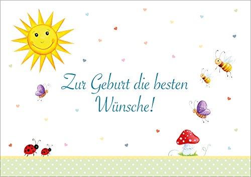 Zur Geburt die besten Wünsche! Klappgrusskarte/Glückwunschkarte/Geburtskarte/Babygrusskarte/Grusskarte in bunten Farben mit Sonne, Bienchen, Käferchen, Schmetterling ect. (Mit Umschlag) (1)