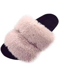 KKLL Flip flop de peluche Fondo grueso ? palabra sandalias de algodón Ms casa negro gris rosa rojo blanco , black , 36