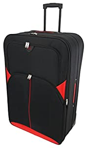 "Large 29"" Lightweight Luggage Wheeled Trolley Suitcase Case L Travel Bag (2119 - Black & Red)"