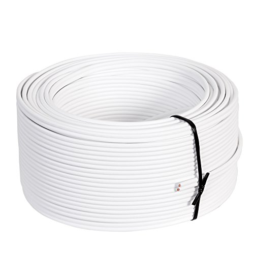 Misterhifi Cable para altavoces de 20 m 2 x 1,5 mm², cordón: 2 x 48 x 0,2 mm, aislamiento blanco, cable de cobre 99,99 % OFC, Made in Germany, cable para bafles / cable para audio para altavoces y home cinema