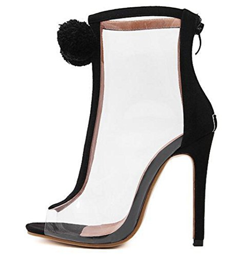 Aisun Damen Fashion Transparent Kunststoff Reissverschluss Pompon Stiletto Sommerstiefel Sandale Schwarz