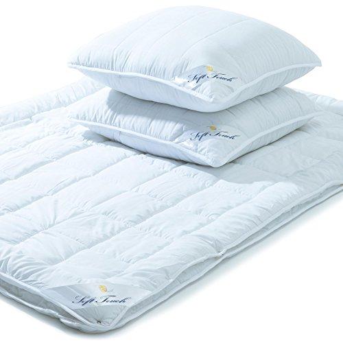 Bettdecken Set 4 Jahreszeiten 200x220 inkl. 2x Kopfkissen 80x80, Steppdecke für Winter und Sommer, Mikrofaser Steppbetten-Set, Öko Tex, waschbar 95 Grad, Soft Touch aqua-textil 0010963