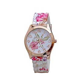 Familizo Women Girl Silicone Printed Flower Causal Quartz WristWatches Pink
