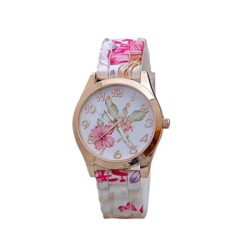 - 41kmwYd1oEL - Familizo Women Girl Silicone Printed Flower Causal Quartz WristWatches Pink