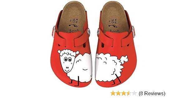 BIRKIS Woodby Clogs BF, Sheep Red Background, Größe 39 mit schmalem ...