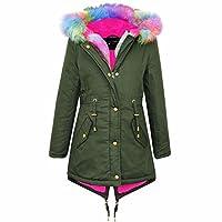 A2Z 4 Kids Kids Hooded Jacket Girls Rainbow Faux Fur Parka School Jackets Outwear Coat New Age 7 8 9 10 11 12 13 Years