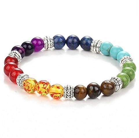 Uhat® Bracelets Pierre Tibétain Extensible Elastique Perle Energie Multicouleur Boule Pièrre Naturelle Agate 8mm Bracelet Fait à Main Artisant
