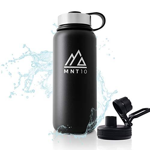 MNT10 Edelstahl Trinkflasche 1L I Premium Isolierflasche + Gratis Sportdeckel I Thermoflasche für Wandern, Büro, Sport, Fitness, Fahrrad, Schule, Outdoor (Black)