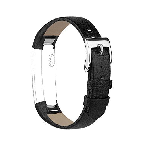 Tobfit Kompatibel mit Fitbit Alta HR Armband Fitbit Alta Armband (2 Pack) Lederarmband Edelstahl Schnalle Ersatzarmbänder für Fitbit Alta und Fitbit Alta HR (Kein Tracker) (Schwarz)