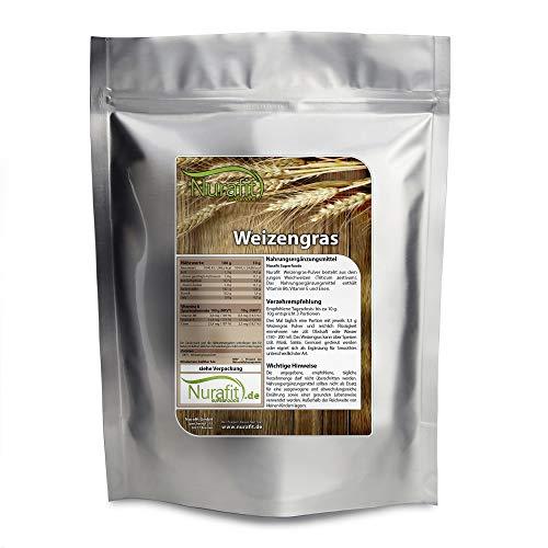 Nurafit Weizengraspulver I reines Weizengras Green-Smoothie-Powder aus schonender Herstellung I Veganes Superfood mit vielen Vitaminen und Mineralstoffen (500g)