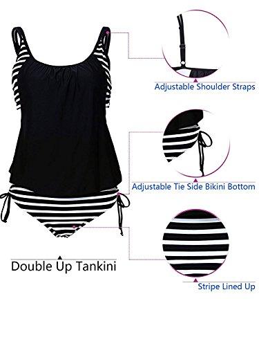 Azue Damen Zweiteilig Tankini Bauchweg Badeanzug Sportlich Beachwear mit Bikinislip