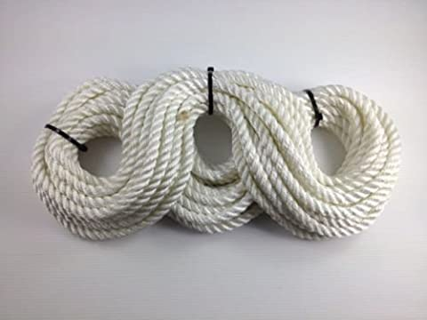 3 Strand White Polyester Rope 16mm x5m Mooring Fender Rope Anchor Marine Sailing