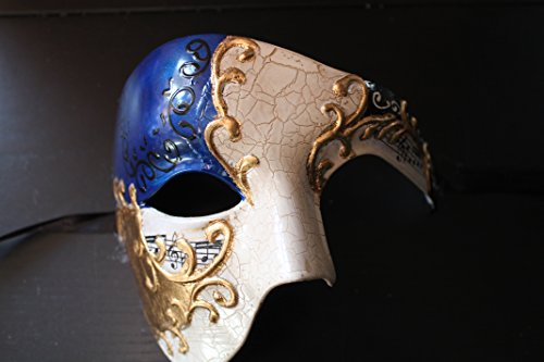 Qualität Hälfte Gesicht Phantom Blau Gold Musiknoten Theatralisch Venezianische Karneval Maskerade Partei ()