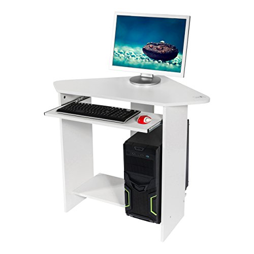 Image of Mari Home - Clifton White Home Office Computer Corner Desk Workstation with Keyboard Shelf