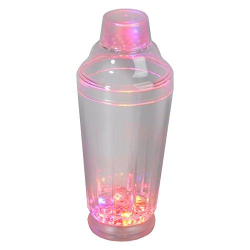 Rattan4Life Bella casa Glas Becher Cocktailshaker 500 ml LED Farbwechsel bunt RGB mit Batterie wechselbar Bar Kunststoff Trinkglas Beleuchtet Cocktailmixer (Becher Kunststoff Farbwechsel)