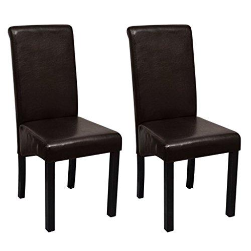 vidaXL 2X Chaise de Salle à Manger Cuir Artificiel Marron Chaises de Cuisine