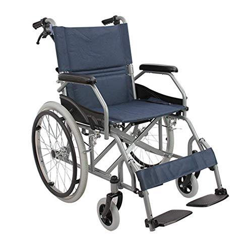 L-Y Sedia a Rotelle Portatile di Alluminio di Trasporto della Sedia a Rotelle Pieghevole Ultra Leggera con i Freni a Mano Trasferimenti Facili Anziani Adatti Disabili, Sedia a rotelle, a