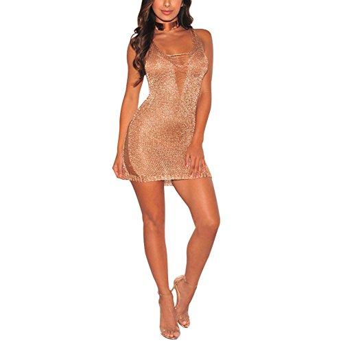 Mini Kleider Damen Sexy Sommer - Gold Metallic Knit zerrissenen Cover bis Kleid (Knit Metallic Kleid)