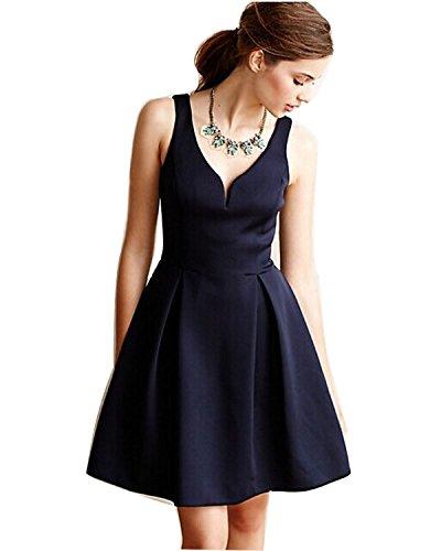 LUOUSE 50er Retro Audrey Hepburn Schwingen Pinup Rockabilly Kleid,Blue,XL