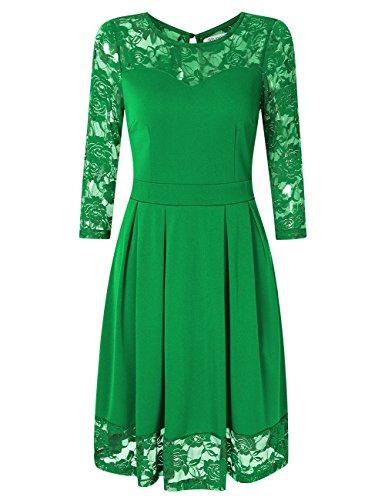 KOJOOIN Damen Elegant Kleider Spitzenkleid Langarm Cocktailkleid Knielang Rockabilly Kleid Grün XS