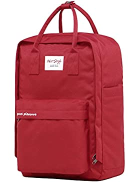 PURE PLEASURE Universität Schulranzen Reiserucksack | 42x28x12cm | Hält 15,6-Zoll Laptop | Rot