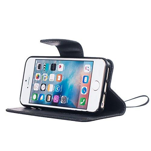Feeltech Apple iPhone SE 5 5S Bookstyle Étui en Cuir Case à Rabat Magnétique Fermeture Coque de Protection avec Porte Carte et Stand, Ultra Slim Portefeuille Motif Case Cover pour Apple iPhone SE 5 5S Oiseaux Plumes-Noir