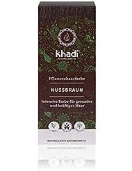khadi Pflanzenhaarfarbe Nussbraun 100g I Haarfarbe Braun mit Henna und Amla I Naturhaarfarbe 100% natürlich und vegan