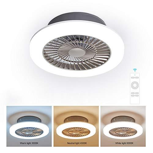 Deckenventilator mit Beleuchtung und Fernbedienung, Ventilator mit 36W LED Licht, Einstellbare der Windgeschwindigkeit und 3 Lichtfarben, Ventilator mit Windleitfunktion für Schlafzimmer Wohnzimmer