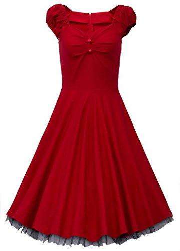 Bigood Robe Coton Femme Rétro Style Plissée Soirée Cocktail Cérémonie Mode Rouge