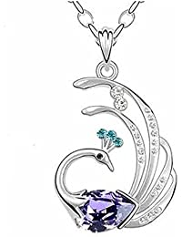 Peora Austrian Crystal Studded Purple Peacock Pendant With Chain For Women Girls Gift For Her