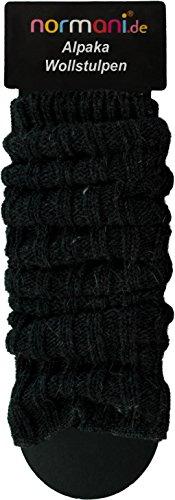 normani 2 Paar Alpaka Stulpen - Beinwärmer, Grobstick aus Alpakawolle Farbe Anthrazit - Warme Gerippte Strumpfhose