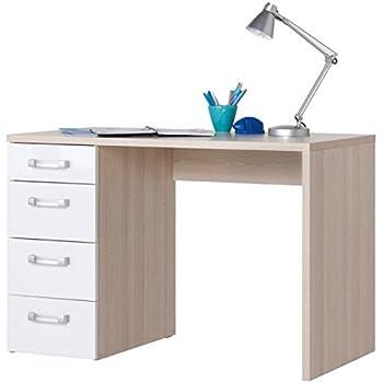 finebuy tavolo scrivania design con cassetto sonoma / bianco ... - Scrivania Con Computer