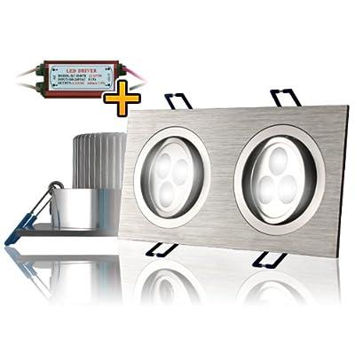 eSmart Germany HIGH POWER LED EINBAULEUCHTE   6W (40W)   Warmweiß   Schwenkbar   inklusive LED-Trafo   Rahmen: 173 x 93 mm / Einbauöffnung: 155x78 mm / Gesamthöhe: 45 mm von eSmart GmbH bei Lampenhans.de
