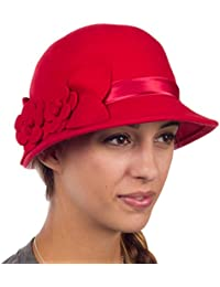 Sakkas Jahrgang Stil 100% Wolle Topfhut Bell Hat with Blume Akzent