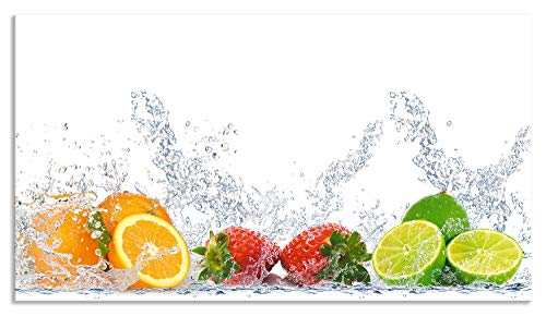 zschutz Küche I Alu Küchenrückwand Herd Obst Foto Bunt F1OA Zitronen Kirschen Erdbeeren Limetten ()