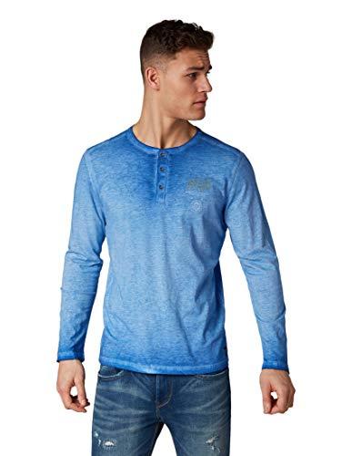 Arctic Blue T-shirt (TOM TAILOR für Männer T-Shirts/Tops Gemustertes Langarmshirt Arctic Sea Blue, M)