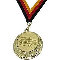 JoGo Medaille Ø70mm Auto Oldtimer goldfarben mit Band