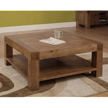 Devon square coffee table solid reclaimed oak wood furniture