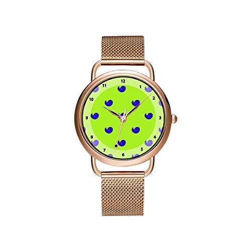 Frauen Uhren Marke Damen Mesh Gürtel Ultradünne Uhr wasserdichte Uhr Quarzuhr Weihnachten Nette Vögel Auf Einem Wurm Gelben Hintergrund Armbanduhr -