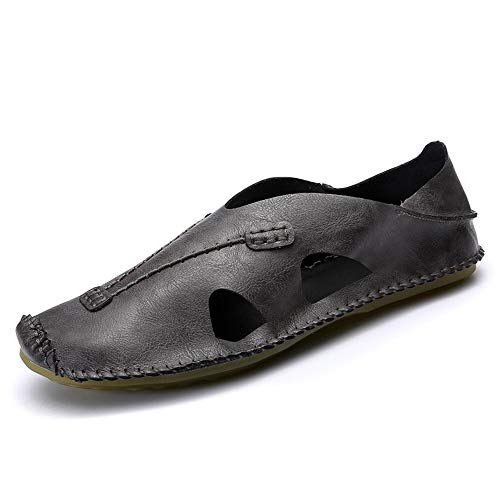 HILOTU Sandali Casuali per Uomo Scarpe da Acqua per Esterni Slip On Style PU Cuoio Microfibra Leggera Pantofole in Colori Puri Flessibili (Color : Grigio, Dimensione : 43 EU)