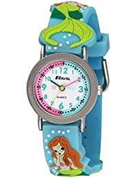 Ravel Cartoon Pretty Mermaid 3D with Timeteacher Dial Children's Quartz Watch with White Dial Analogue Display and Multicolour Plastic Strap R151368